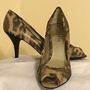 GUESS Leopard Pep Toe Heels